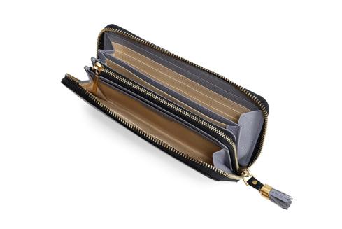 エポイ(Epoi)シキのラウンドファスナー長財布レディースきりいろグレーパープル